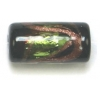 Glass Lamp Bead 16x8mm Tube Black/Olivine/Gold Silver Foiled